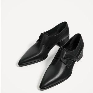Zara black patent loafers menswear style